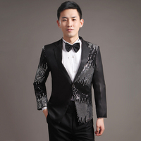Moderator clothes paillette male master Sequin Dresses Stage Costumes Men terno Suit MC Host Clothing Singer Suits Blazer jacket