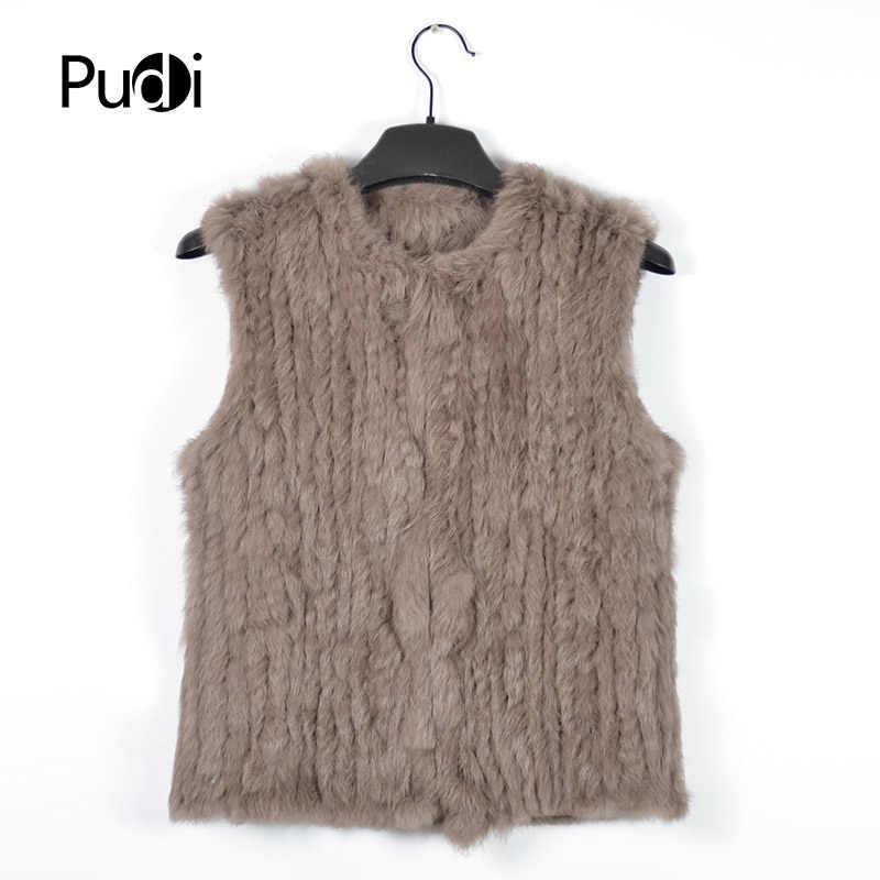 VR030 новый вязаный Кролик Мех животных жилет без рукавов одежды натуральный коричневый/серый/черный
