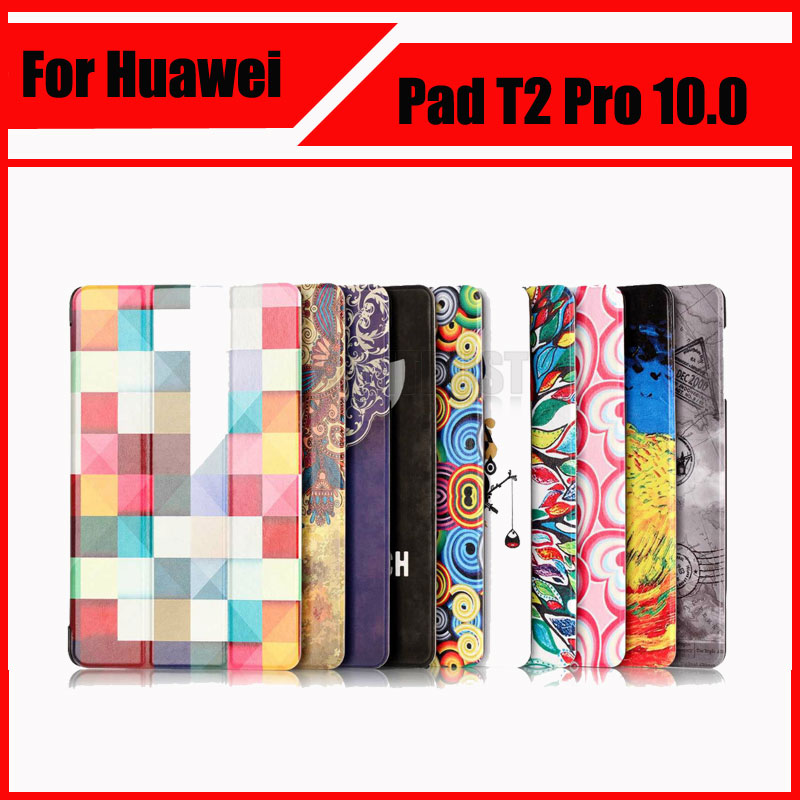 Slim Folio Colorful painted Pu Leather Case Cover For Huawei MediaPad T2 Pro 10.0 FDR-A01W FDR-A03L Tablet PC + Screen film new fashion pattern ultra slim lightweight luxury folio stand leather case cover for huawei mediapad t2 pro 10 0 fdr a01w a03l