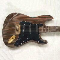Superior quality Zebra ST Electric Guitar Zebra fingerboard, Black Shield,Free shipping