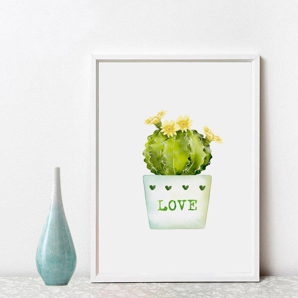 Home Decor Gift: Cacti Inspiration Wall Art Green Home Decor Love Gift