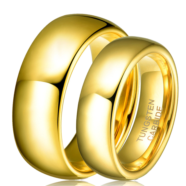 1 Pair Tungsten Carbide Gold Color Ring
