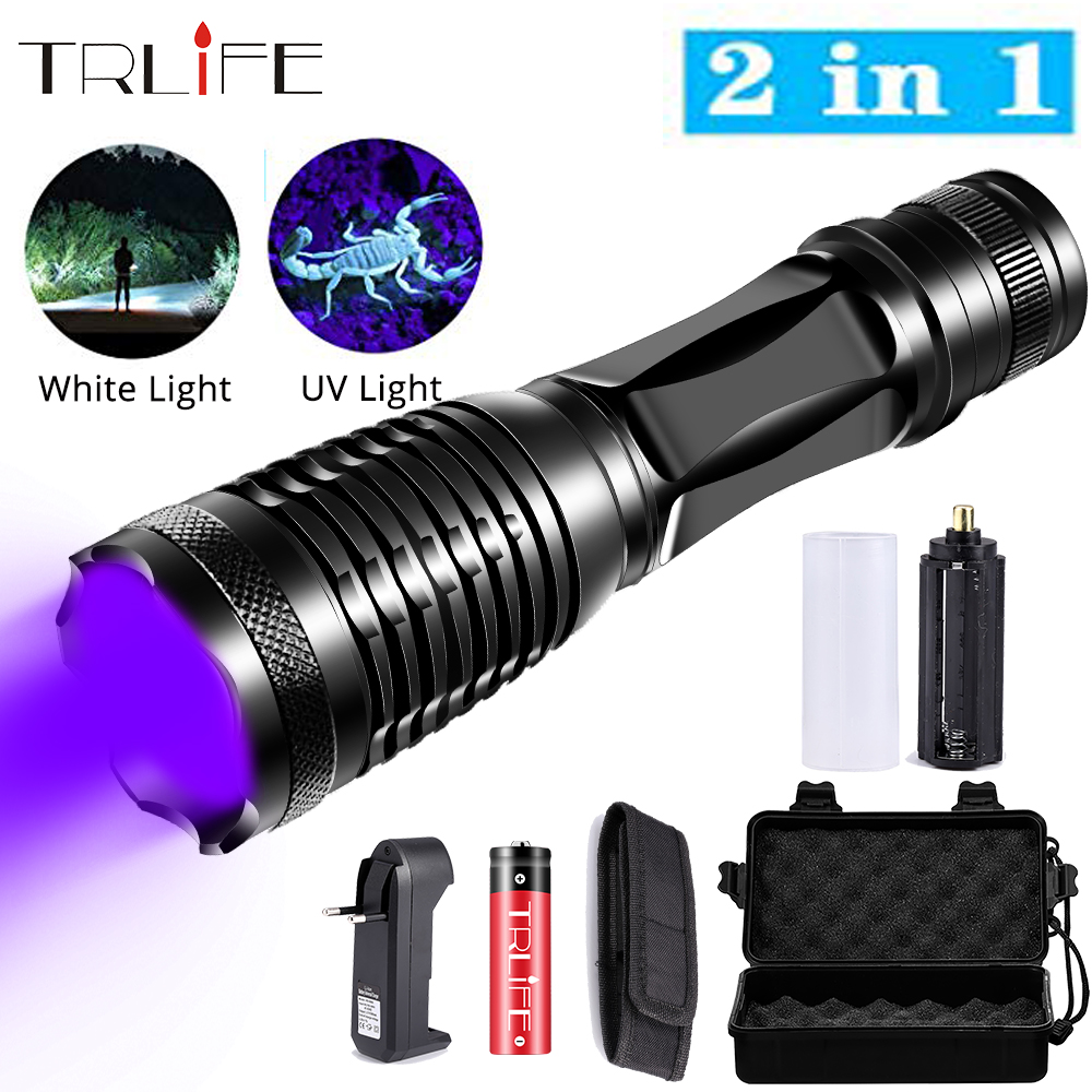2in1 UV Flashlight White LED Torch Linternas 395nm Ultraviolet Urine Detector For Camping Pet Urine Catch Scorpions