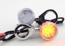 GOOFIT 4pcs Universal Motorcycle LED Turn Signal indicator Chrome light for ATV Bike Scooter Dirt J065-800