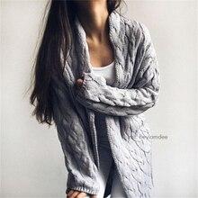 Rugod 2018 новый осень и зима вязаный крючком свитер для Для женщин длинный витой кардиган платье открытые женские свитера Кардиган Для женщин