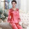 Lujo elegante salón Pijamas Para Las Mujeres Puntada Ropa de Dormir de Encaje de Seda de Las Mujeres Pijamas Conjuntos Pijamas Mujer