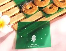 300pcs Green Christmas Tree Cellophane Bag Cute Biscuit Plastic Party Favor Bag(Hong Kong)