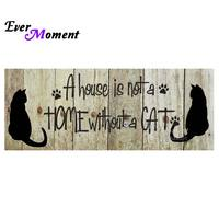 Ever Moment 5D Diy Diamond Painting Cross Stitch Cat Home For Lizzy By Jutta Diamond Embroidery