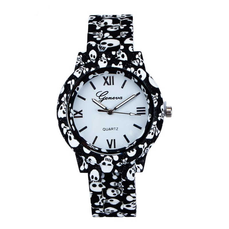 Simple Women Watches Female skull printed Punk Band Analog Quartz WristWatches ladies Business Vogue watch relogios femininos