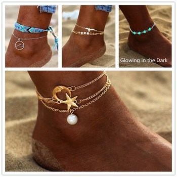 AY Bohemian Crystal Beads Anklet Set For Women Moon Pendant Bracelet on the Leg Jewelry 2