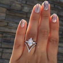 Размеры 5, 6, 7, 8, 9, 10, 11, очаровательные свадебные кольца для женщин, дамские блестящие белые опаловые циркониевые вечерние ювелирные изделия, подарки для невесты, Mujer Anillos
