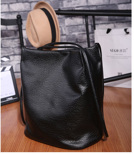 All-Match Bucket Bag Pu Leather One Shoulder Cross-Body Women's Handbags Big Capacity Black/Gray/Champine