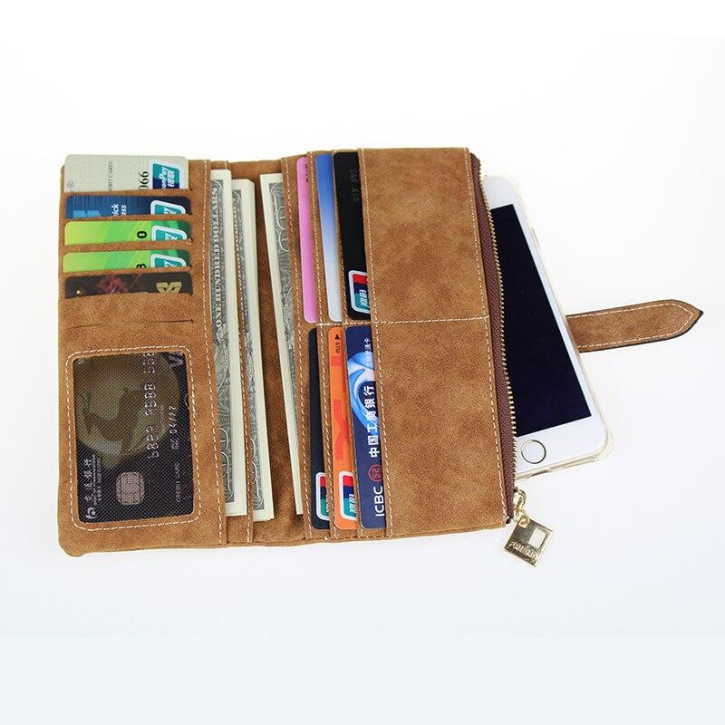 Известный бренд, Длинный кошелек, два сложения, женские кошельки, на завязках, нубук, кожа, на молнии, замшевый кошелек, дамская сумочка, клатч