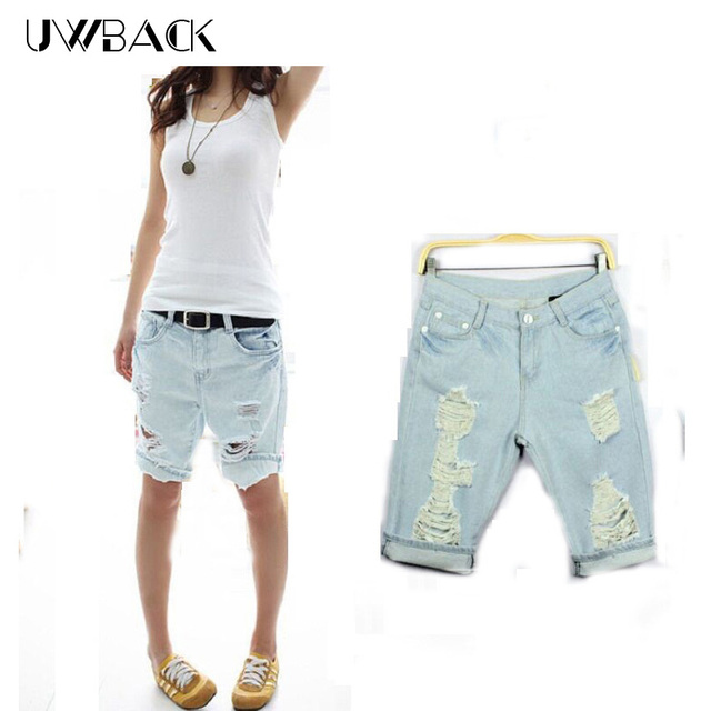 33e769b2b57 Uwback Shorts Women 2017 New Summer Style Jeans Mujer Boyfriend Washed  Ripped Torn Big Size Loose