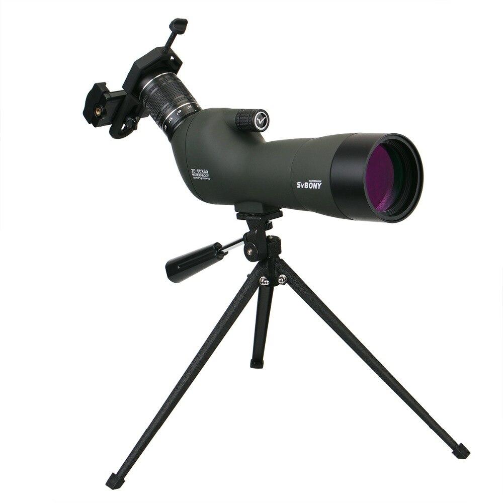 Spotting Scope 20-60x60 BAK4 23mm Oculaire SVBONY SV29 Chasse Optique Étanche Zoom Monoculaire Télescope w/Téléphone portable Adaptateur
