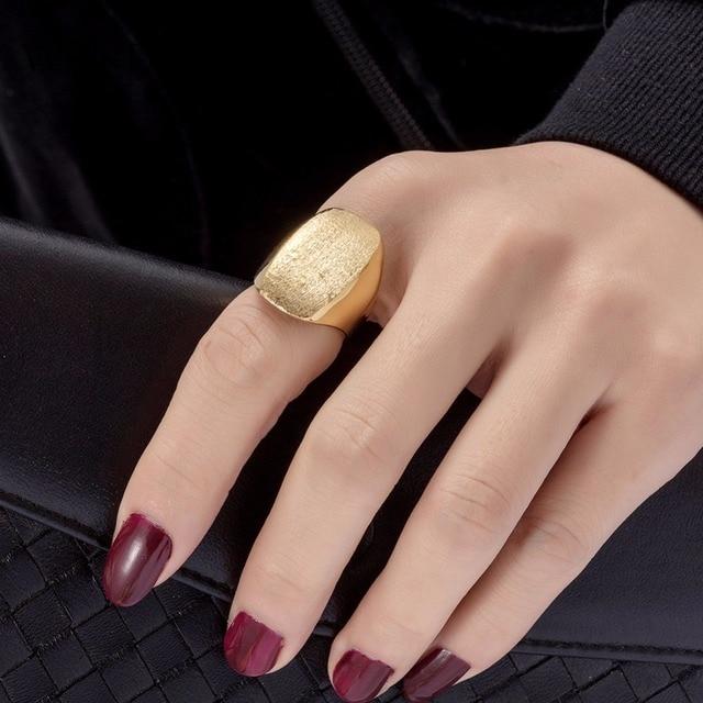 WANDO Big ring Ethiopia gold ring for women girls matte new