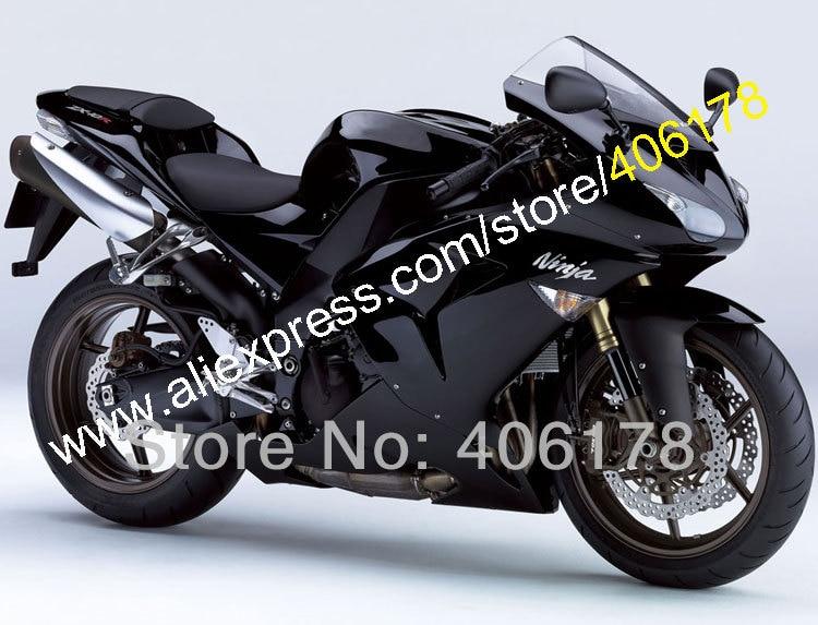 Hot Sales,Work Bodys For Kawasaki Ninja ZX-10R 2006 2007 ZX10R 06 07 ZX 10R Full Black Motorcycle Fairings (Injection molding)