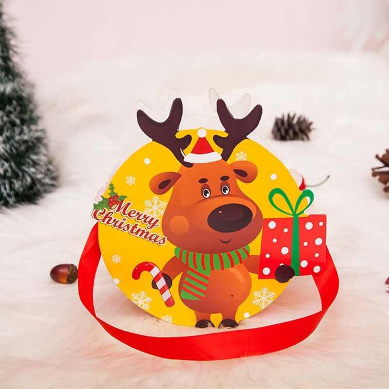 Padrão de Saco de Papel de Presente de natal Papai Noel Boneco de Neve Doces Titulares Dom Bolsa de Pacotes de Lanche Crianças Lotação Natal Partido Home Decor