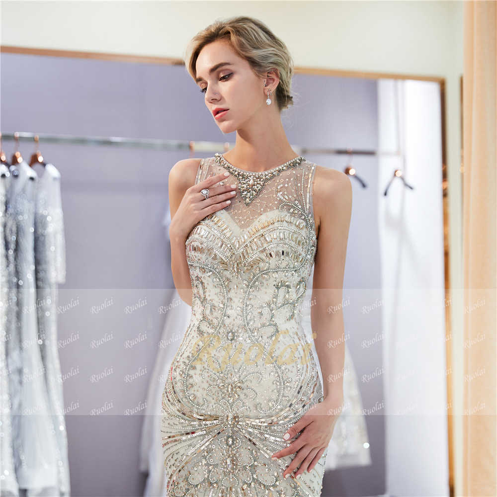 cb4e5abeda61 ... Luxury Champagne Evening Dresses 2019 Scoop Heavy Beaded Mermaid  Evening Gown Prom Dress 2019 Robe de ...