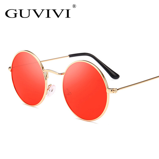 f43b2a9ef GUVIVI Vintage Round Sunglasses Women Clear Lens Mirror Sunglasses Female  Brand Designer Metal Frame Circle Glasses Oculos UV400