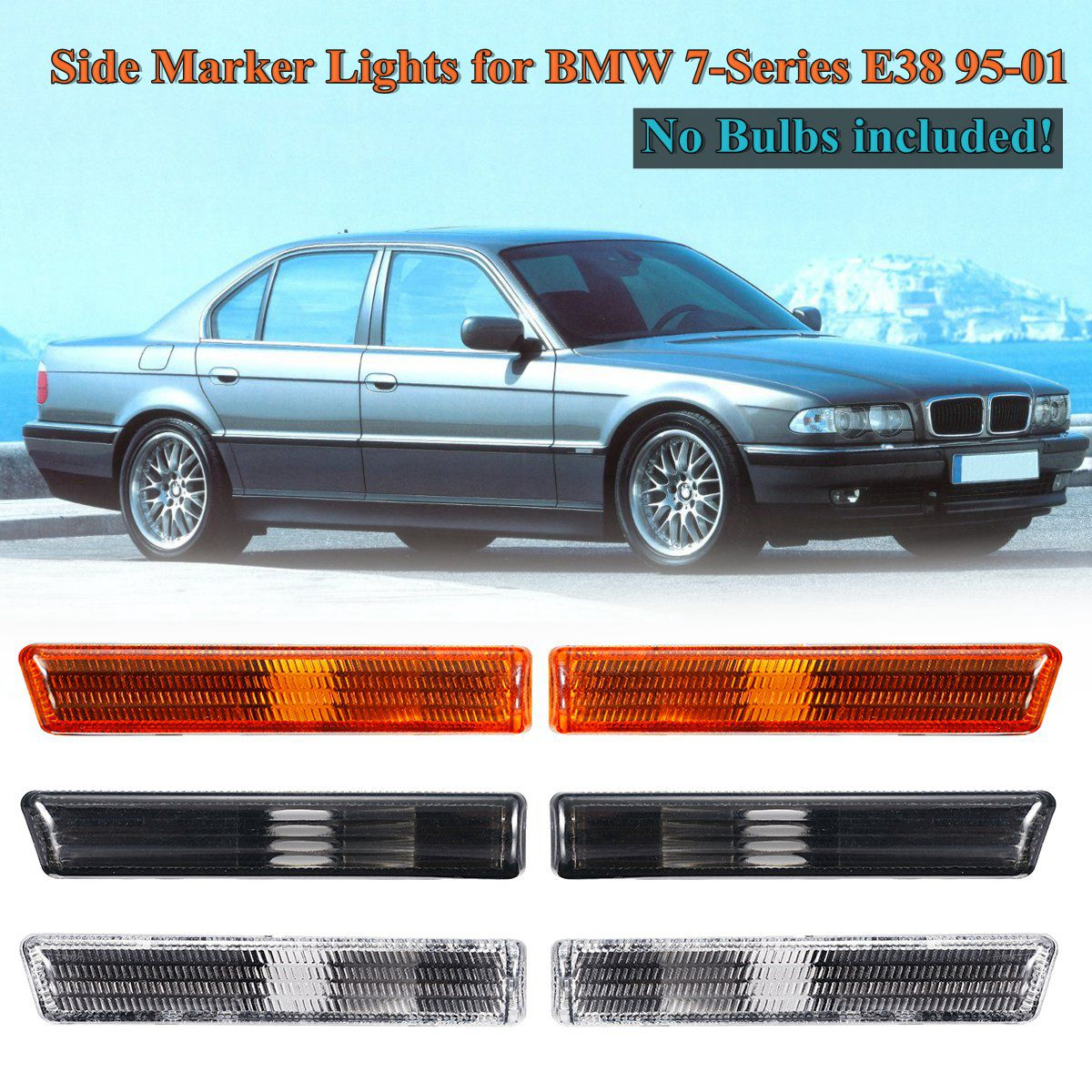 Bumper Trim compatible with BMW 7-Series 95-01 Rear Center Strip Chrome Plastic