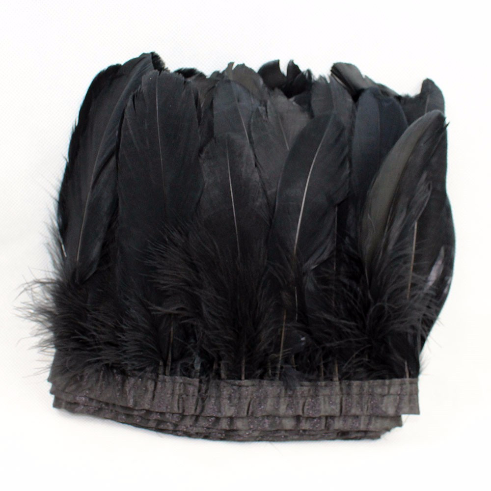 White craft feathers bulk - 8 10cm Black Feather Trim Goose Feathers Trimming Feather Fringe 2 Meter Lot Dress Cloths Making Craft