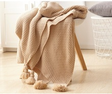 Cotton Knitted Throw Blanket with tassels Manta Bedspread Couch /Plane Travel Plaids TV blankets for beds Sofa Cover Cobertor