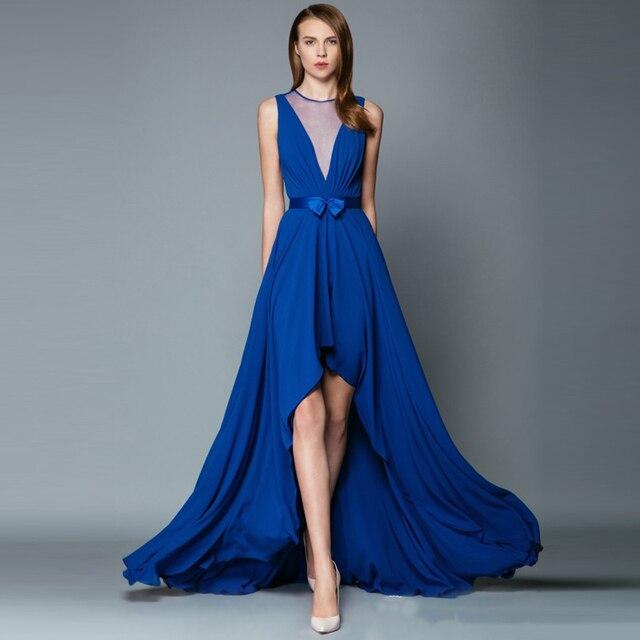 69edb6b41a1c Blue Elegant High Low Prom Dress Chiffon Deep V-Neck Formal Party Evening  Dress With Sash Bow New Arrival Women Sleeveless Dress