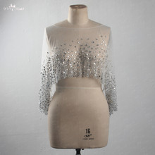 Bridal-Jacket Wedding-Cape Tulle White Crystal Heavy-Beaded Silvery Ladies LZP415 Boat-Neckline