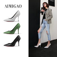 2018 Spring White Pearlescent Fetal Leather Women's pointed toe Stiletto high heels Pumps Shoes Daily Office Shoes Solid Color