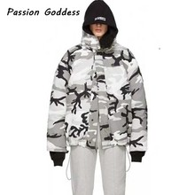 Fashion Winter Camo Camouflage Parkas Down Outcoats Thick Jackets Double-sided Wear Camouflage Women Men Oversize Hooded Jackets