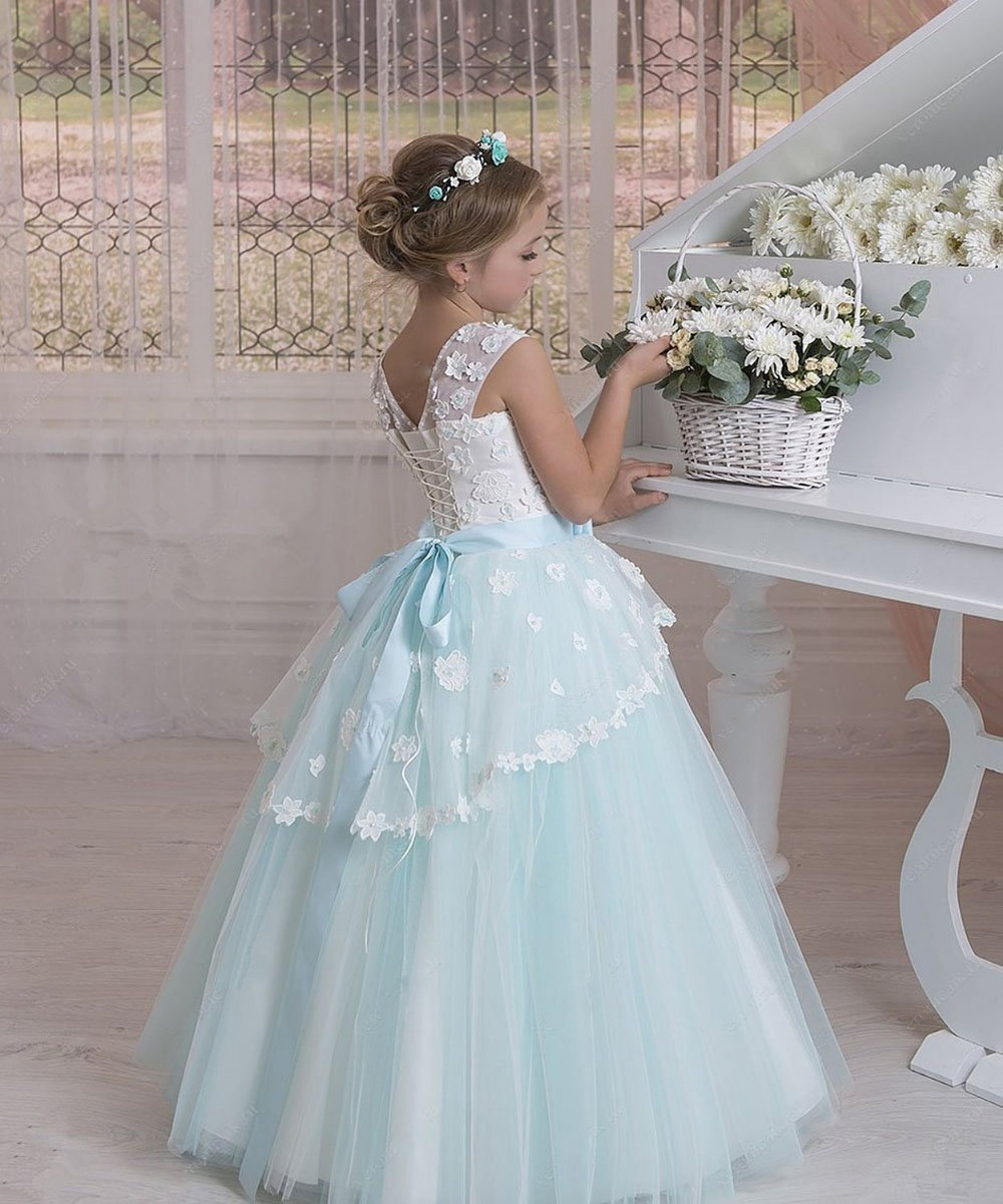 communion dres Floor Length Sleeveless dresses Wall Crystal Wedding ...