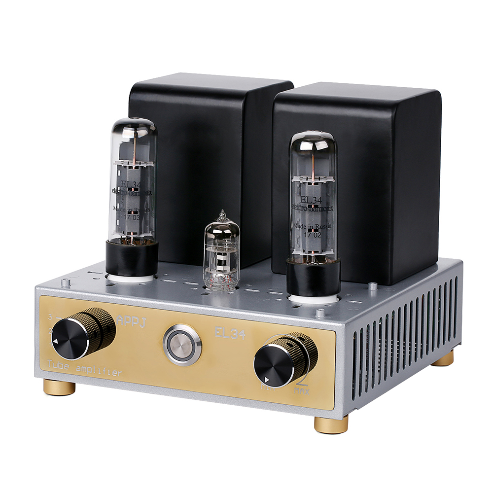 APPJ EL34+6N4 Mini Tube Amplifier Single Ended Audio HIFI Stereo Amp appj pa0901a tube amp miniwatt n3 el84 12ax7 hifi exquis desktop pc amplifier
