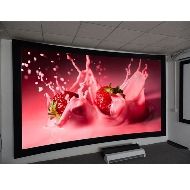 Curved Projection Screens 106 inch 2.35:1, HD Acoustically Transparent Fabric Screen full hd 190 inch 16 9 curved fixed frame front projection screen with 1 2 gain 3d cinema projector screens