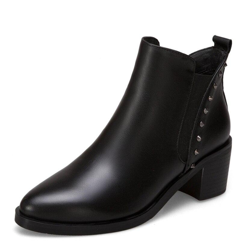 FEDONAS Mode Frauen Stiefeletten Aus Echtem Leder Herbst Winter Warm High Heels Schuhe Frau Partei Punk Niet Marke Damen Stiefel-in Knöchel-Boots aus Schuhe bei  Gruppe 2