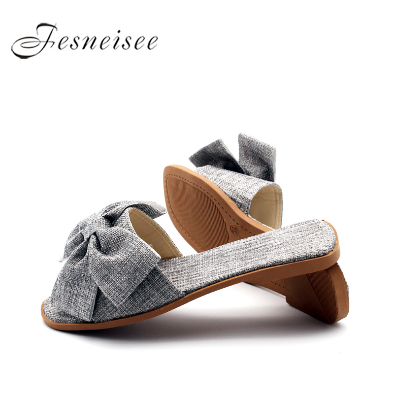 FESNEISEE Summer Women Slippers Flat Heel Fresh Elegance Women Casual Home Cloth Slides shoes Butterfly-knot Decoration mules