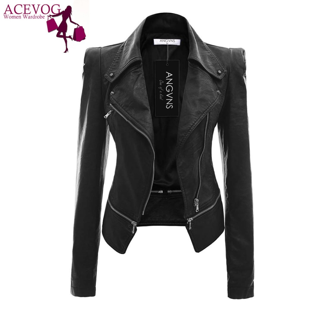 ACEVOG Faux   Leather   Jacket Fashion Zipper Women Ladies Long Sleeve Autumn Winter Casual High Quality PU   Leather   Jacket