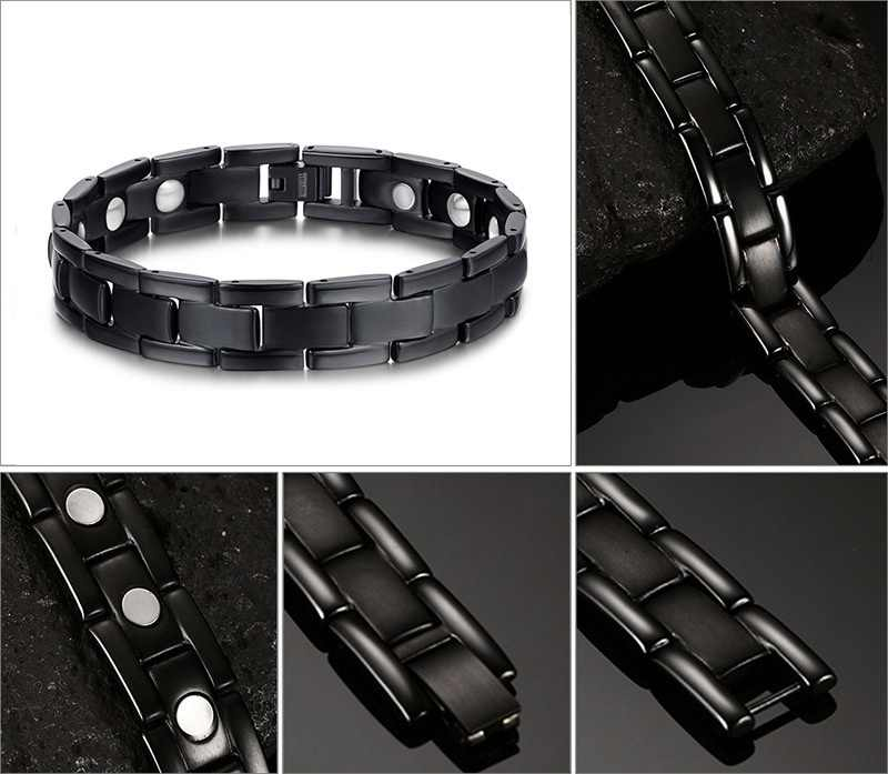 Therapy Bracelet Energy Stone Pure Titanium Steel Magnetic Bracelets & Bangles Black Gun Plated Germanium Bracelet Pain Powder