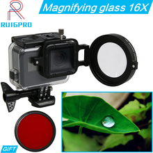 Gopro 58mm +16 Times Magnifier Colse-up HD Macro Lens Filter Adapter Ring with Case Box Bag for GoPro HERO 7 6 5 Action Cameras