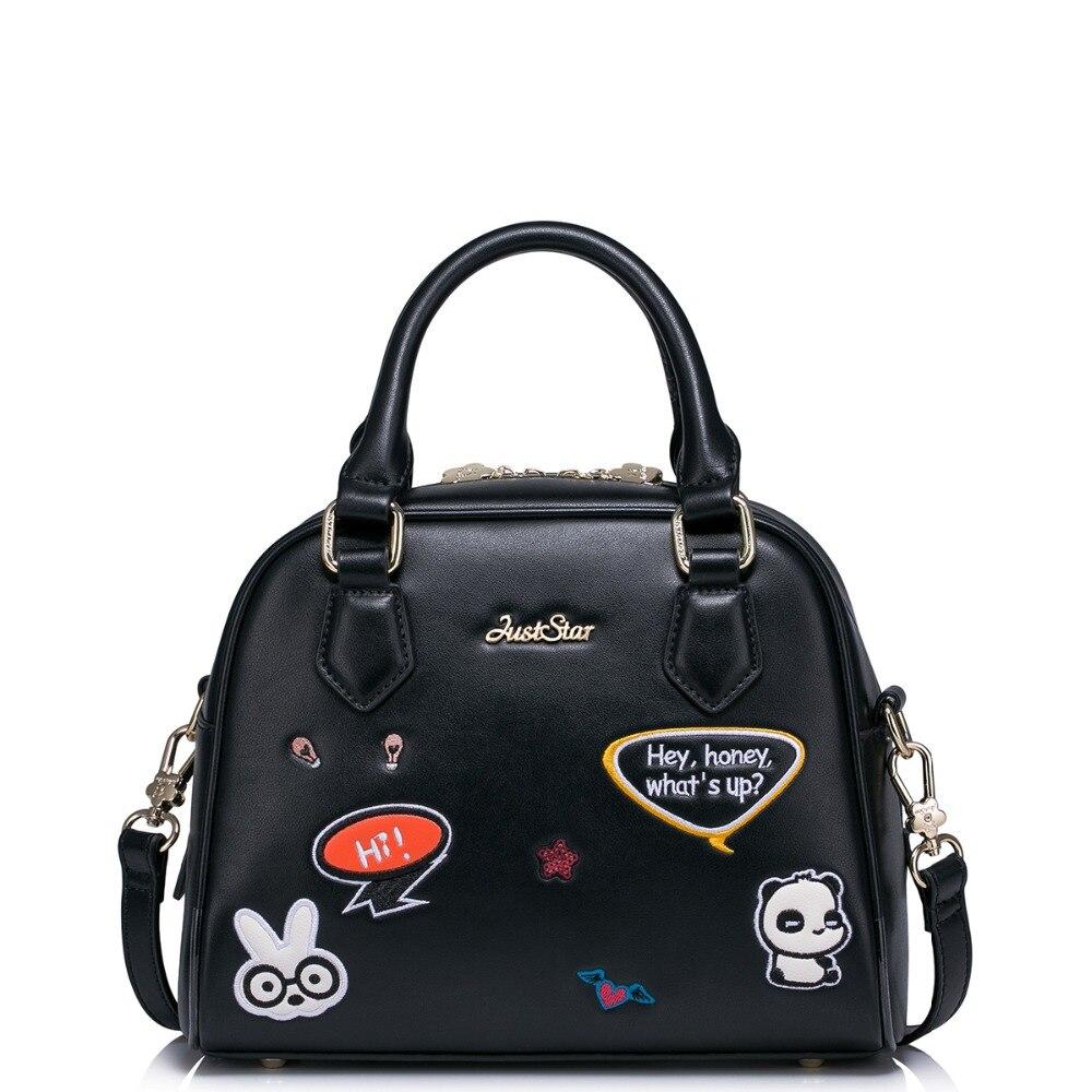 JUST STAR Women's PU Leather Handbags Ladies Fashion Embroidery Cartoon Tote Bags Female Shell Panda Messenger Bags JZ4154