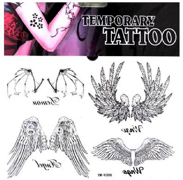 Free Ship 5pcs Lot Ym K006 Back Tattoo Arm Waist Back Angel Wing