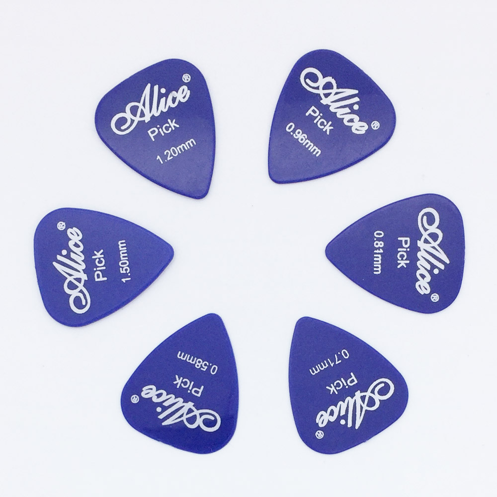 6 pieces Alice Guitar Picks in 1 Color Full Thickness 0.58 0.71 0.81 0.96 1.2 1.5 mm Black/White/Yellow/Red/Green/Blue/Orange 4