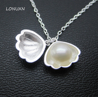 Original Design Korean S925 Sterling Silver Shell Shape Pearl Shell Necklace Earrings Silver Boutique