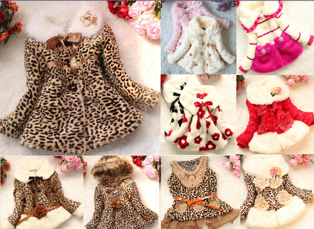 352bfefc1 Retail Girls Leopard faux fox fur collar coat clothing with bow ...