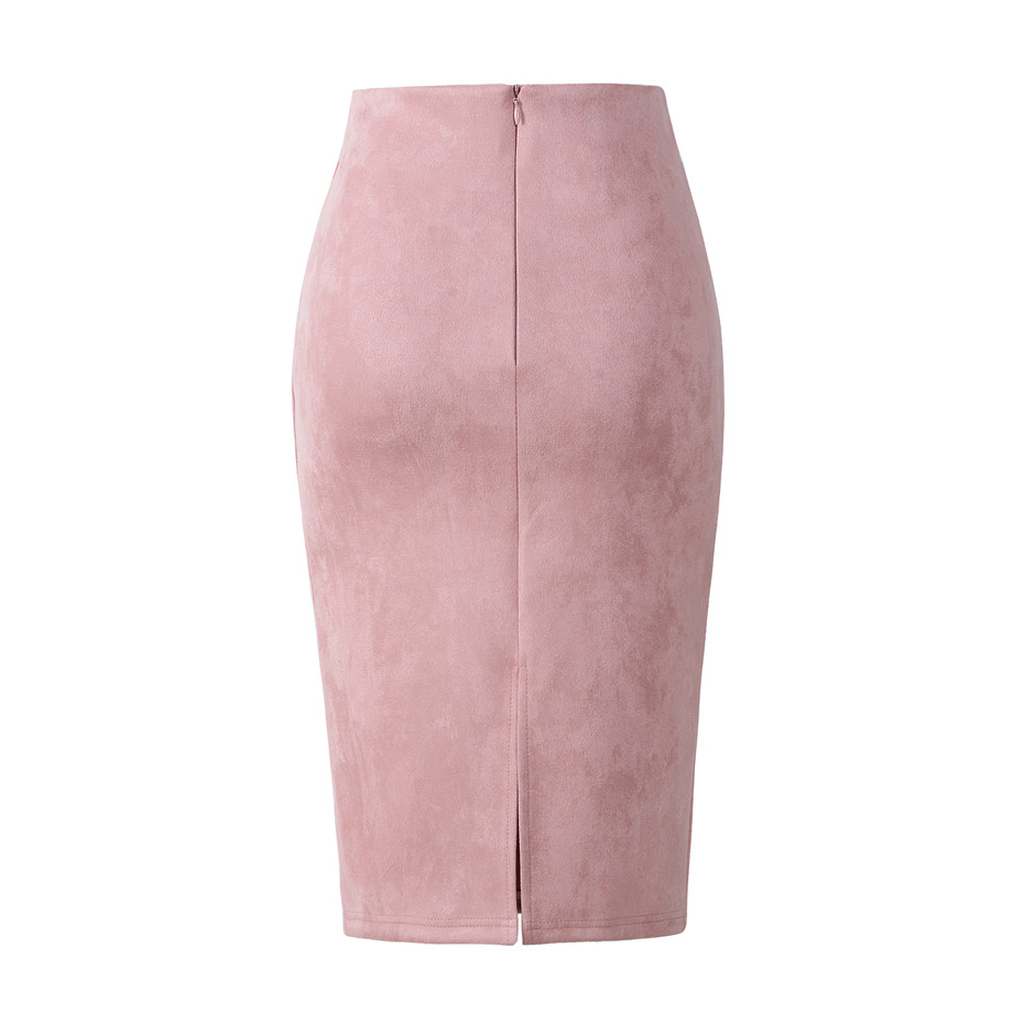 Neophil 2018 Summer Gray Pink Women Suede Midi Pencil Skirts Causal High Waist Sexy Stretch Ladies Office Work Wear Saia S1009 22