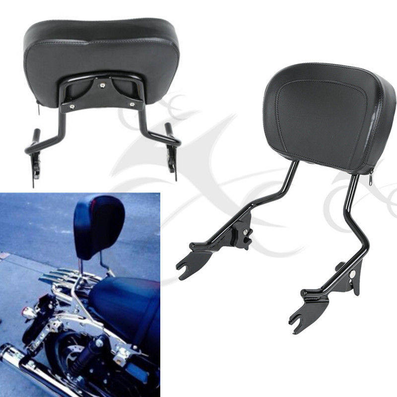 Detachable Sissy Bar Passenger Backrest W/Pad For Harley Touring Road King Ultra Electra Street Glide FLHR FLHX FLHT FLTRS 09-18 saddlebag lid rack top rail w light for harley touring ultra street electra glide 94 13