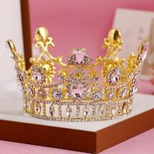 Vintage Oro de lujo de Estilo Barroco Completo Aleación De Cristal Tiara De La Boda Tiara Nupcial de la Reina Rey Crown