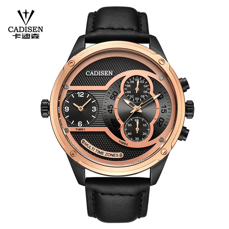 Luxury Brand CADISEN Men Watch Quartz Watches Big Design Dual time zone Casual Military Waterproof Wristwatch relogio masculino bewell natural wood watch men quartz watches dual time zone wooden wristwatch rectangle dial relogio led digital watch box 021c