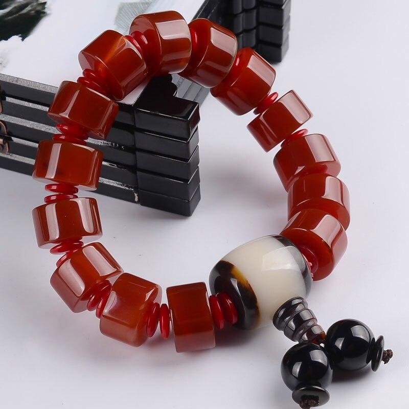 8e34aa99954b Kyszdl nuevo rojo natural pulsera de piedra buda pulsera hombres y mujeres  modelos de pareja joyería de moda