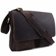 2017 Handmade 100% Genuine Leather Messenger Bag Brand Shoulder Satchel For Men Simple Retro Style Top Handbag 1180